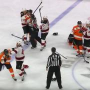 Intense sequence by Gudas, Simmonds after major hit.