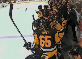 Breaking: Major controversy after Sidney Crosby throws water bottle at player from the bench.
