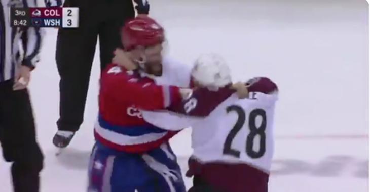 Tom Wilson pummels Ian Cole after Cole injures Kuznetsov