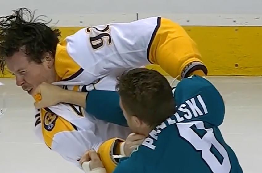 Pavelski clocks Johansen and takes him down