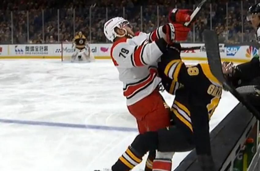 Ferland destroys Matt Grzelcyk in the opening moments of Game 2.
