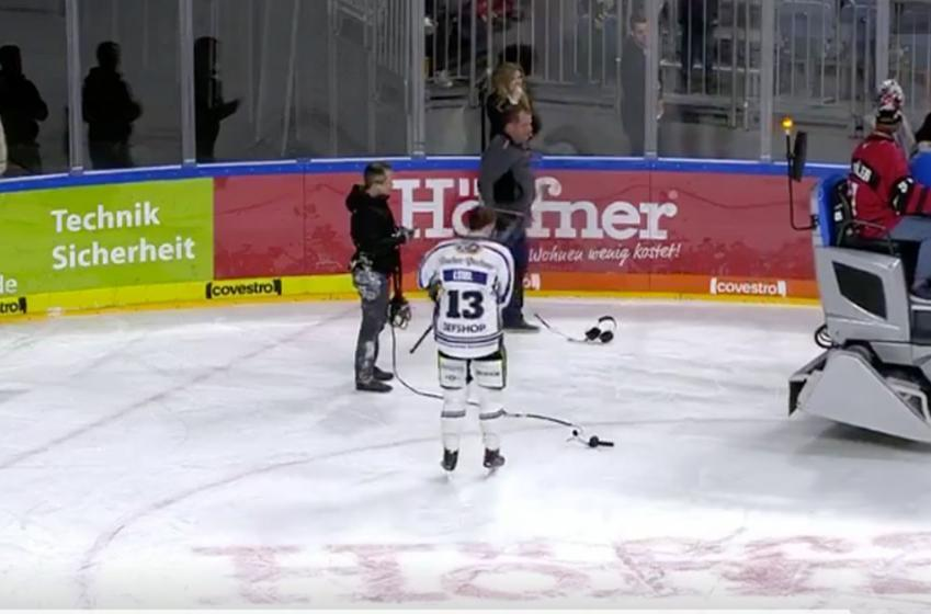 Player nearly gets run over by Zamboni in shocking intermission crash!
