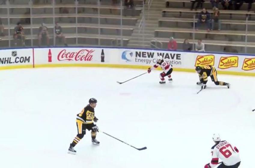 Must See: Jesper Bratt scores filthy goal against Penguins in rookie game