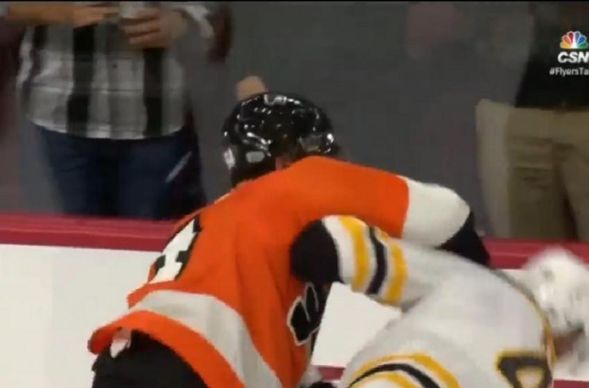 #2 pick in the draft Nolan Patrick picks a fight with the Bruins!
