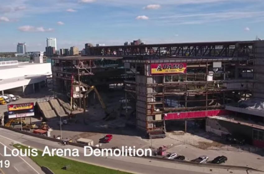 Incredible, but heartbreaking drone footage of Joe Louis Arena demolition