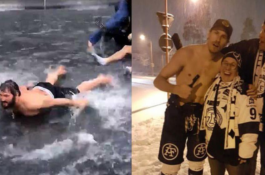 Swedish hockey player channels his inner Ovechkin in best drunken celebration