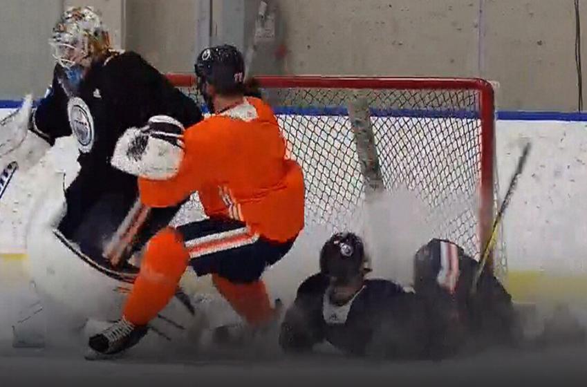 Must See: Scary moment as Klefbom sends McDavid flying in Oilers practice