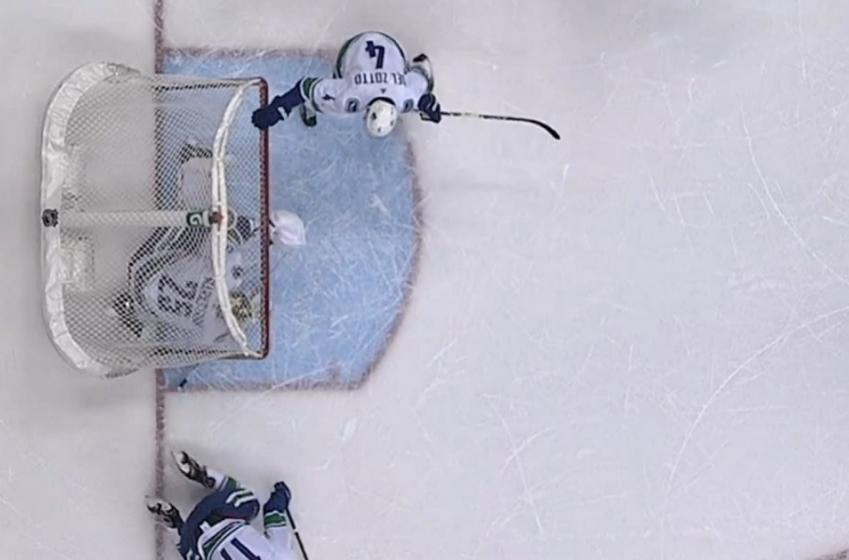 Net literally falls on the goalie, NHL officials still rule a good goal.