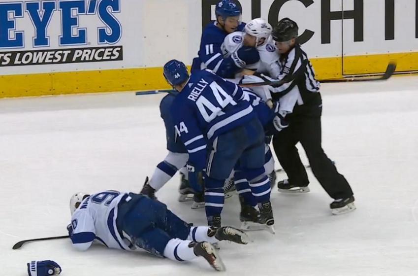Namestnikov shoves Andersen, Roman Polak makes him pay.