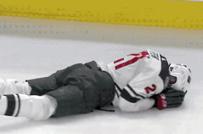 Habs' Agostino runs Fehr's head into the dasher, cuts him wide open