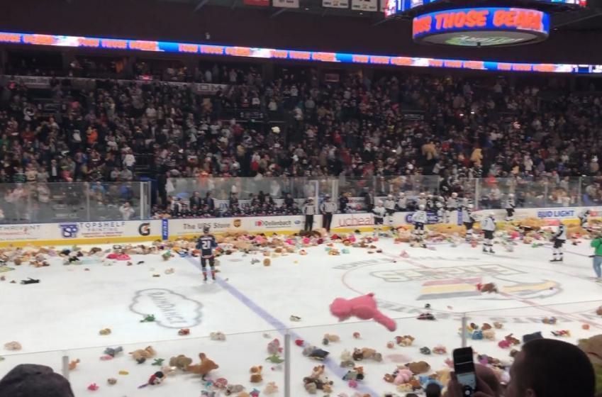 Hockey fans in Colorado make it rain Teddy Bears!