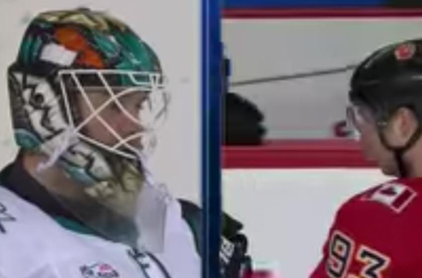 Sharks goalie Dell spears Bennett down low, punches get thrown