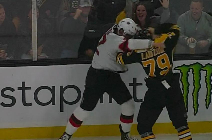 Bruins' Lauzon throws haymakers at Bastian in intense preseason fight!