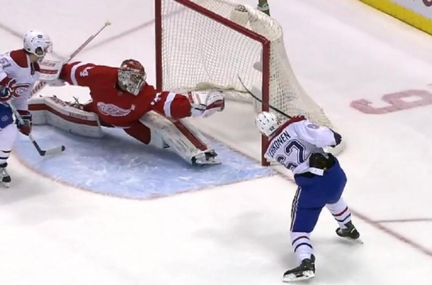 Petr Mrazek with potential save of the year.