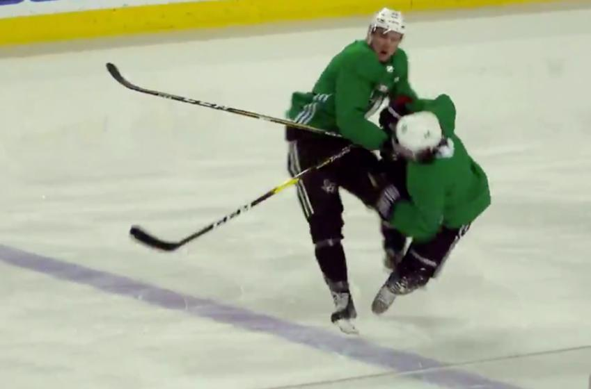 Zuccarello gets cut open and leaves practice in first skate back from injury.