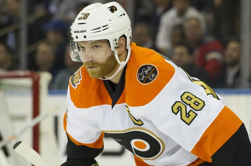 Philadelphia Flyers winger Claude Giroux scores the first of the season.