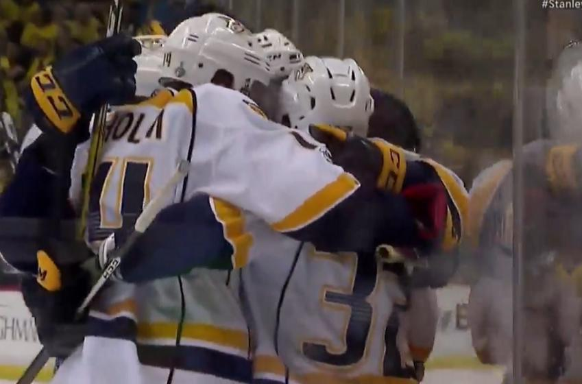 Predators shock the Penguins with three unanswered goals to tie the game.