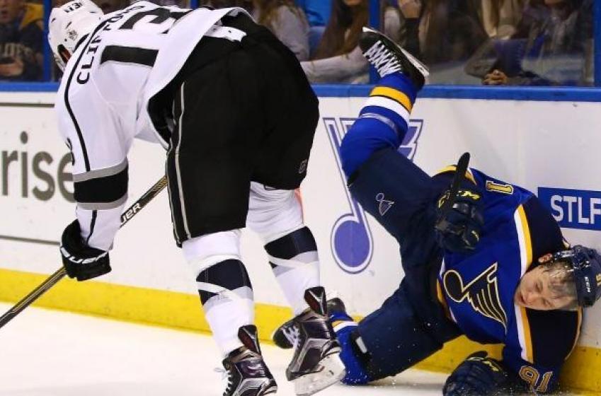 Tarasenko gets blown up behind the net.