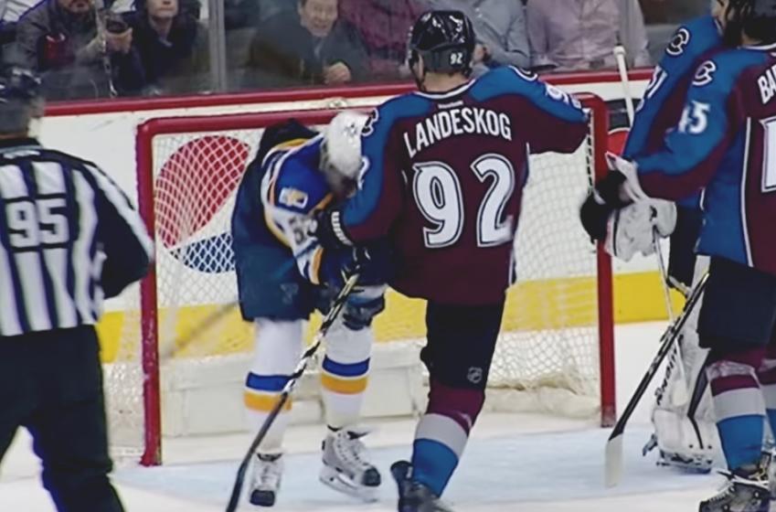 MUST SEE: Landeskog kicking David Perron directly where it hurts!
