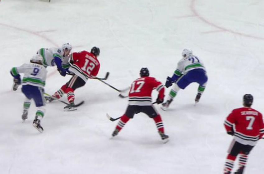 DeBrincat scores a beautiful top-shelf goal on the rush while falling down