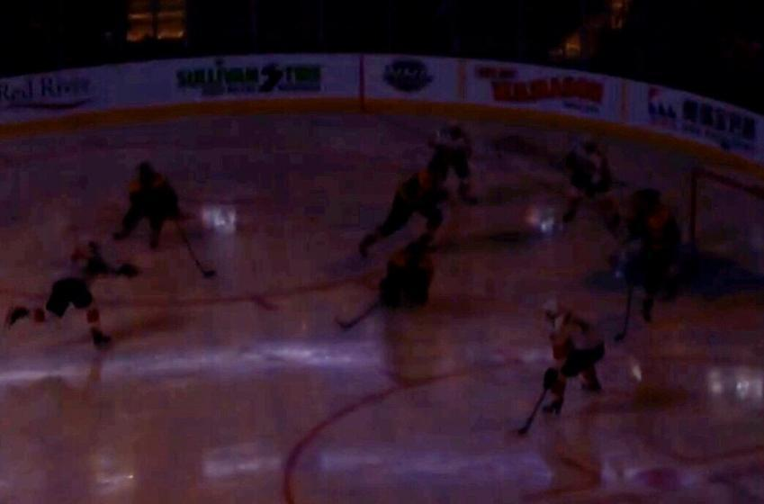 Lights go out at TD Garden mid shot on goal
