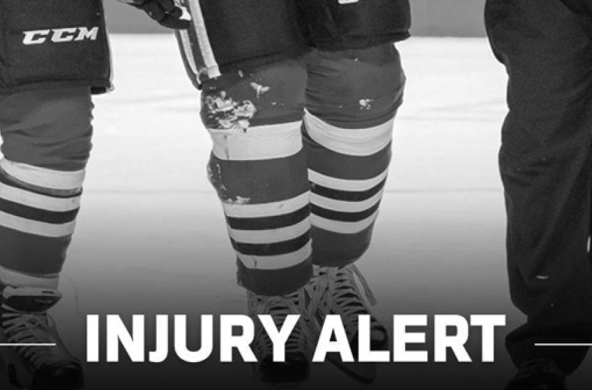 Blackhawks Player Gets Stitches