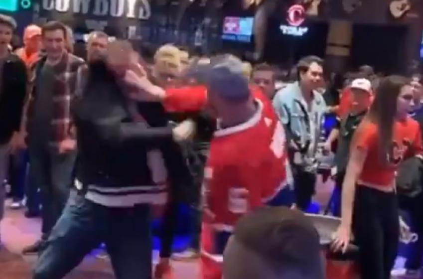 Cameras catch wild brawl between Canadiens fans in Calgary.