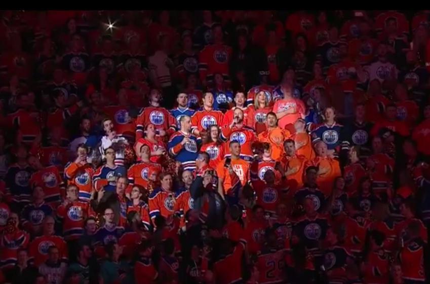 Amazing moment in Edmonton during national anthem.