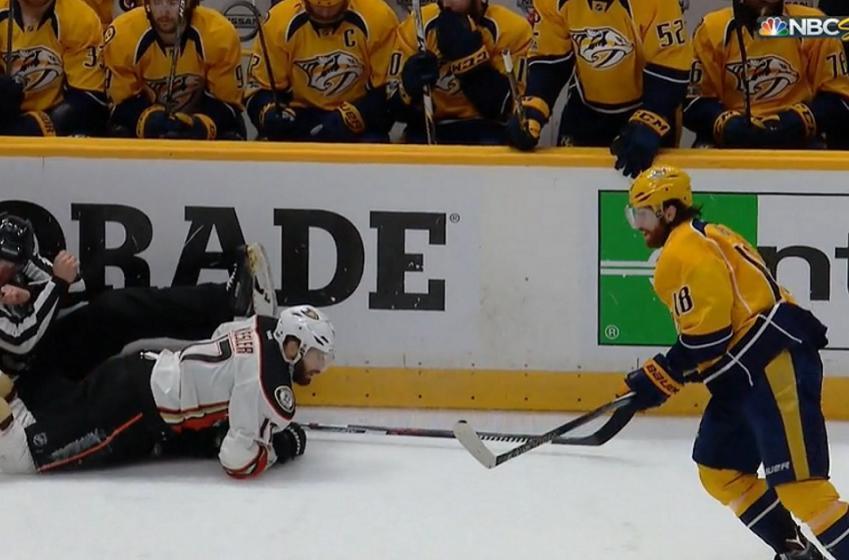 NHL official gets run over after big hit on Ryan Kesler.