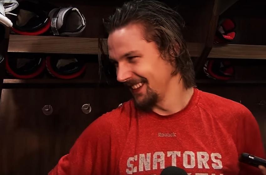 Erik Karlsson jokes about Lundqvist getting rocked!