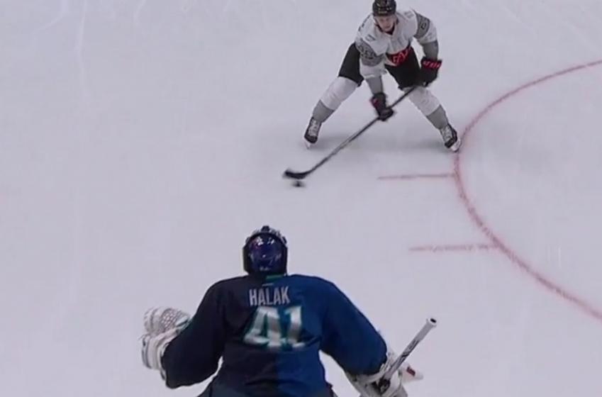 MacKinnon completely undresses Halak on filthy penalty shot..