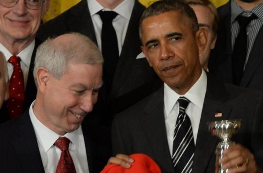 President Obama pays tribute to the Chicago Blackhawks.