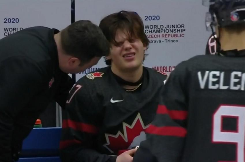 Canadian captain Barrett Hayton injured at the World Juniors.