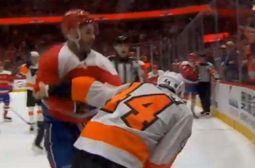 Tom Wilson, Nate Thompson drop the gloves