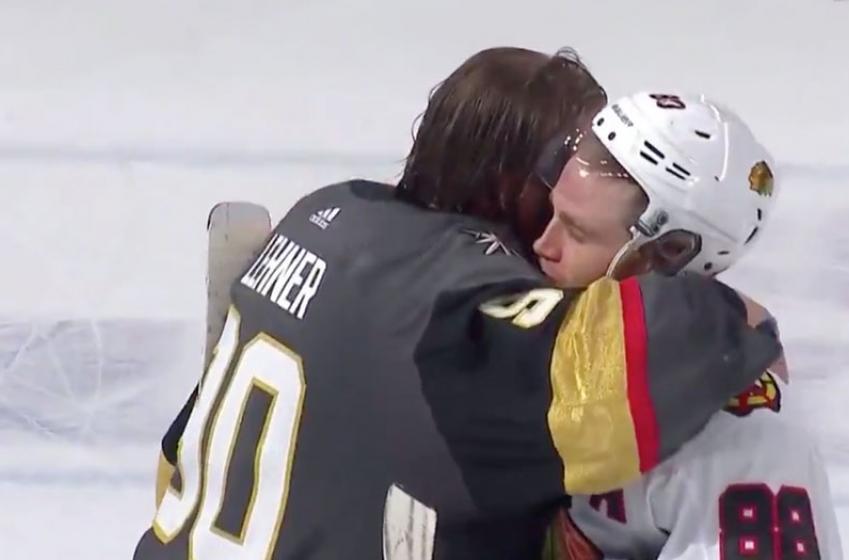 Emotional handshake for Robin Lehner after eliminating the Hawks