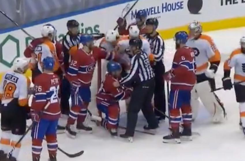 Fight erupts before handshake line between Flyers and eliminated Habs!