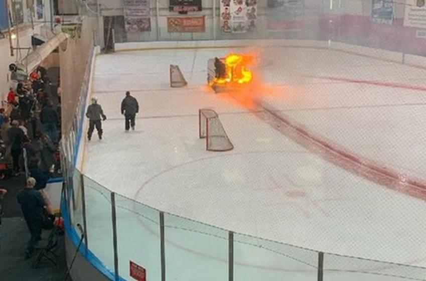 Zamboni bursts into flames, driver finishes his job