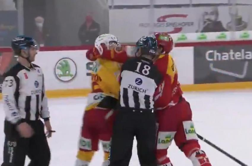 Damien Brunner sucker punches Erik Brannstrom.